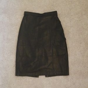 Genuine Leather Black Skirt